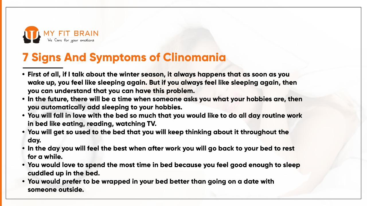 Infographic of 7 Signs And Symptoms of Clinomania: