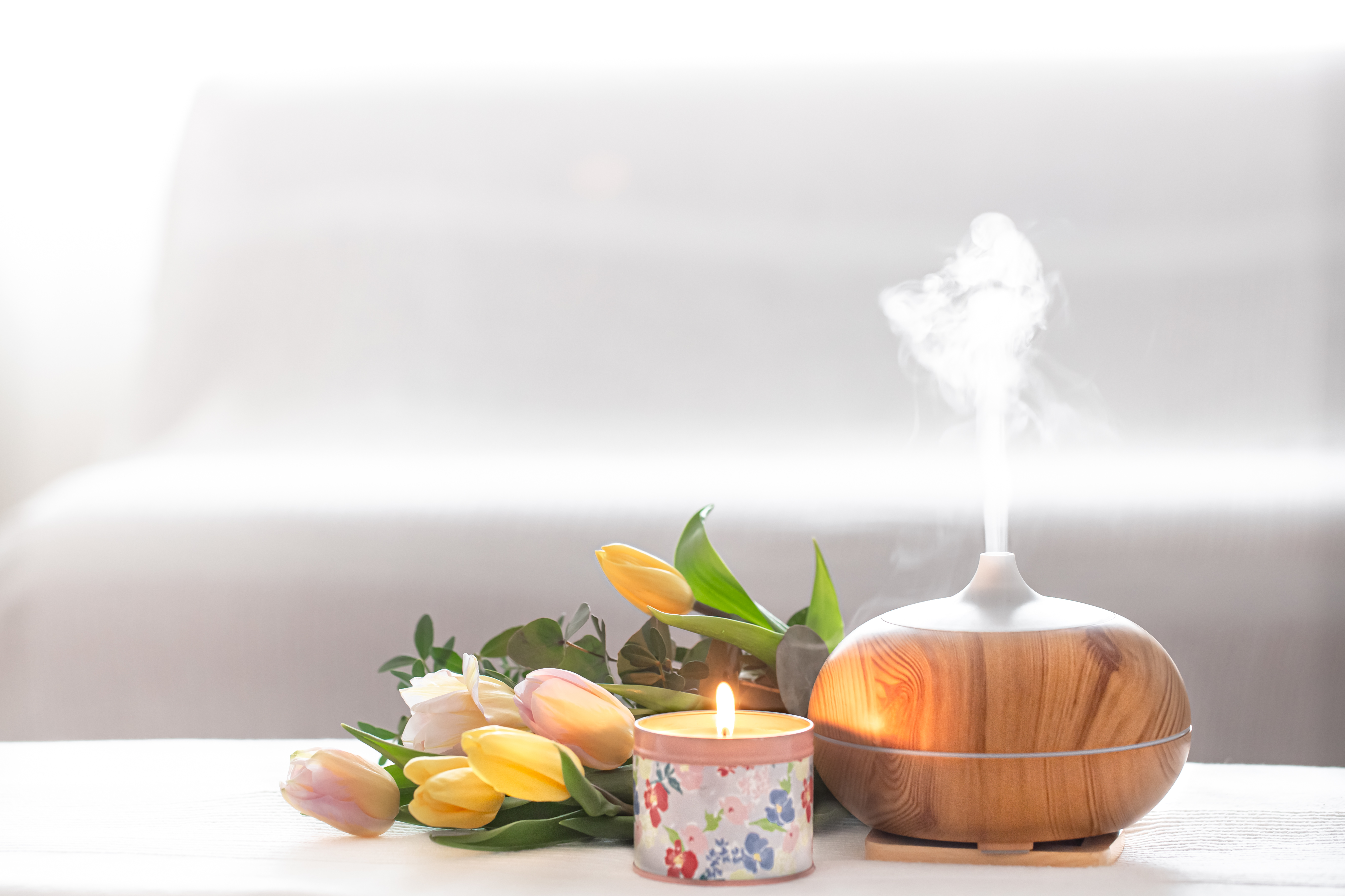 aromatherapy diffusers- inhealers - body lotions on a table