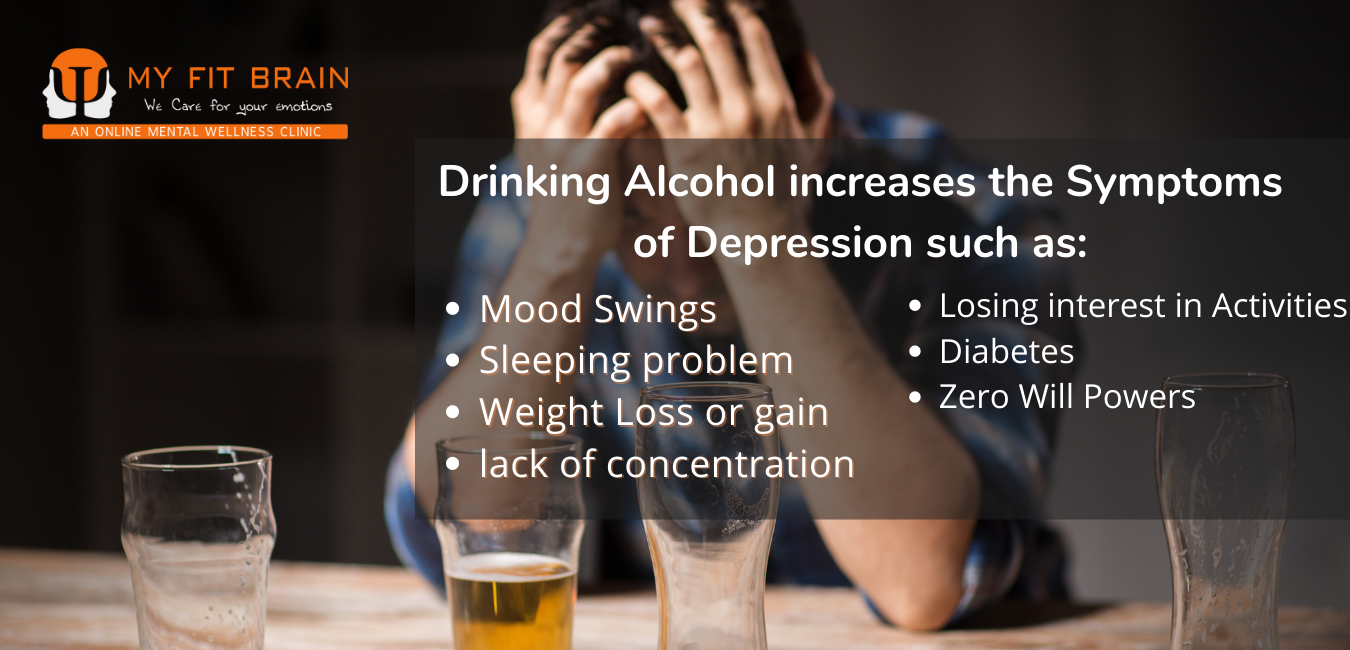 depression and alcohol - inforgraphic showing symptoms of depression in case of a alcoholic