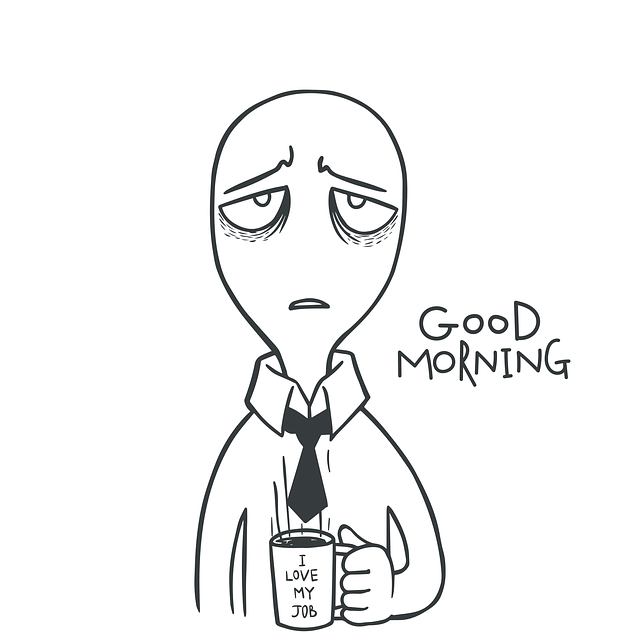 Vector graphic of a stressed cartoon wishing Good Morning