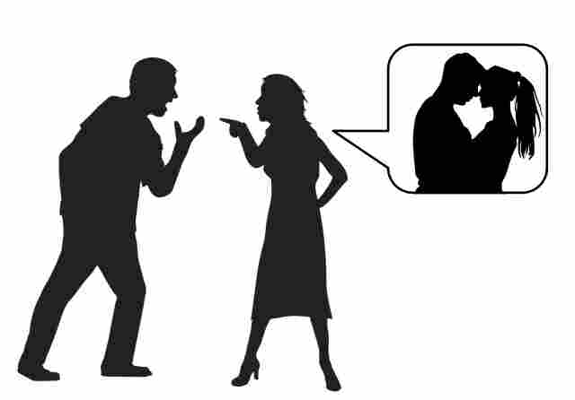 a girl and man fighting vecotr graphic