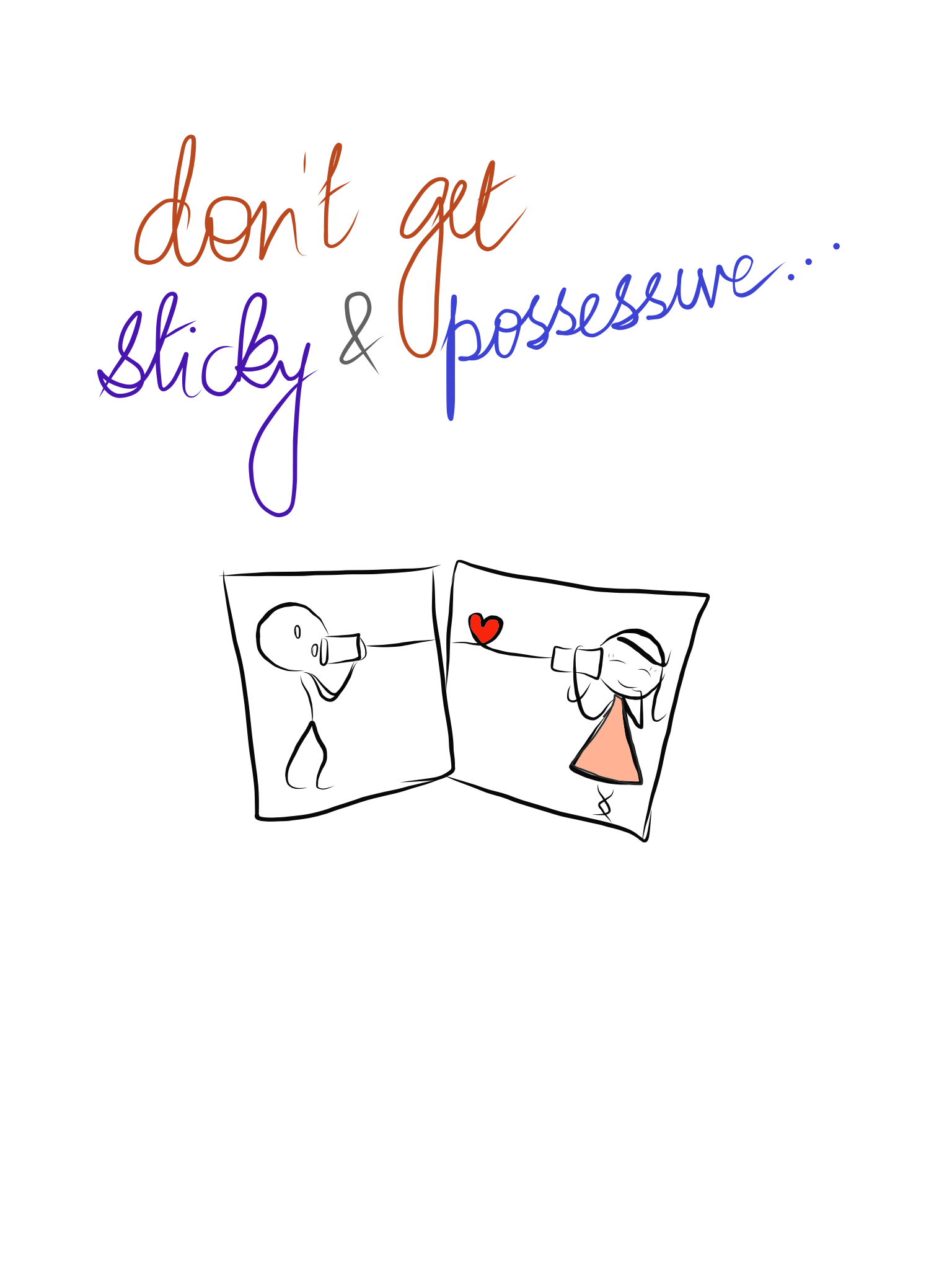 vector graphic of a cartoon showing possessive love