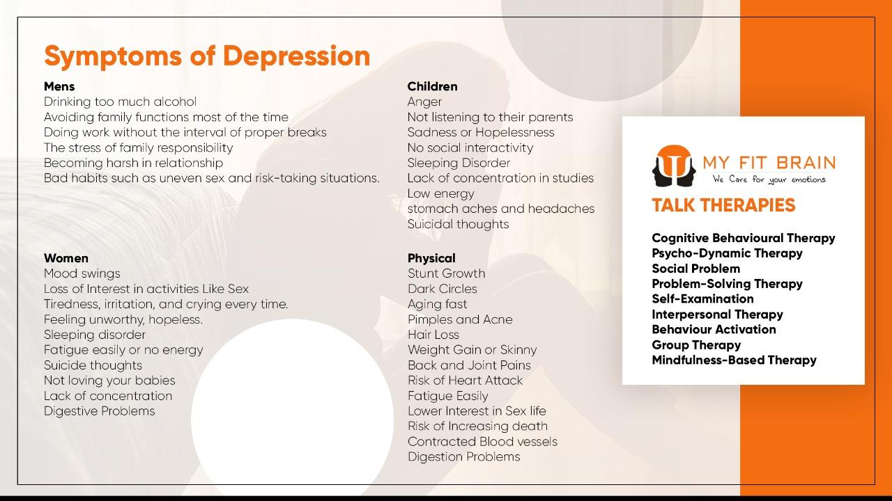 symptoms of depression - inforgraphic